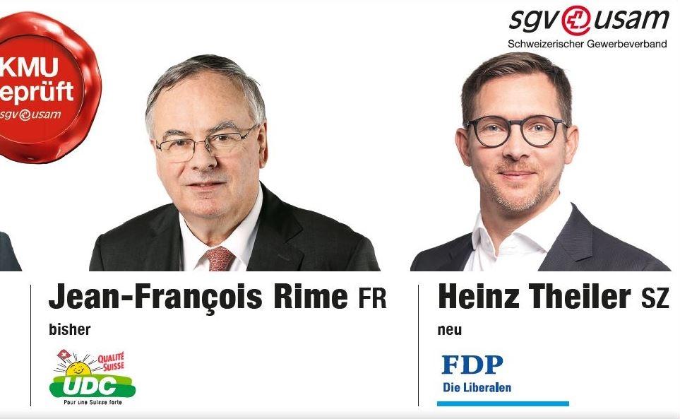 Der Schweizerische Gewerbeverband unterstützt Heinz Theiler
